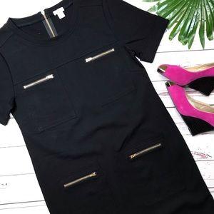 •J. Crew• sz 8 black zipper ponte dress